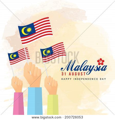 31 August - Malaysia Independence Day illustration of citizen with Malaysia flags.
