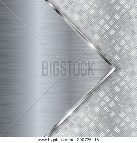 Non-slip surface on metal brushed background. Vector 3d illustration