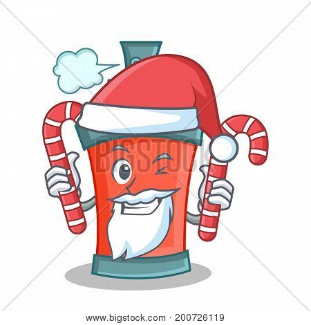 Santa with candy aerosol spray can character cartoon vector art