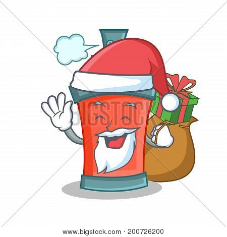 Santa aerosol spray can character cartoon with gift vector illustration