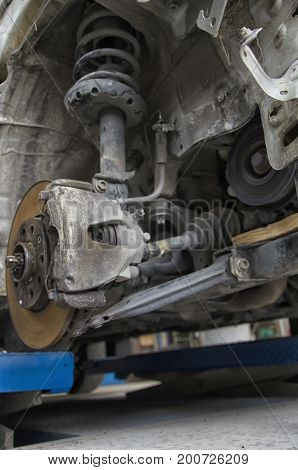 View of the braking system of a car
