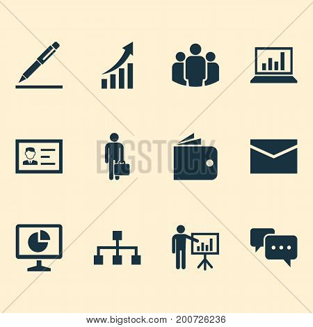 Job Icons Set. Collection Of Pen, Increasing, Group And Other Elements