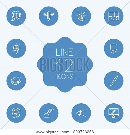 Collection Of Brain, Property Plan, Knowledge And Other Elements.  Set Of 12 Creative Outline Icons Set.