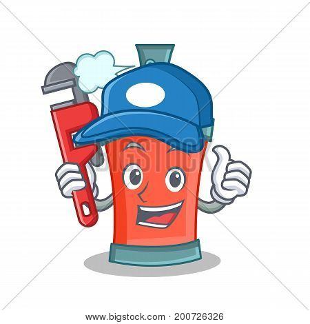 Plumber aerosol spray can character cartoon vector illustration