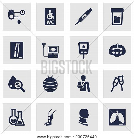 Collection Of Injury, Thorax, Stand Elements.  Set Of 16 Medical Icons Set.