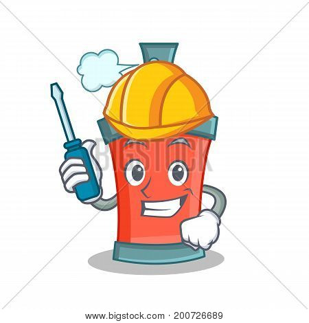 Automotive aerosol spray can character cartoon vector art
