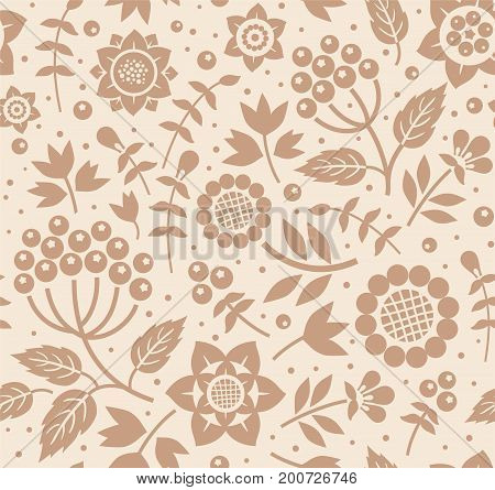 Berries and twigs, decorative background, seamless, beige, brown, vector.  Vector floral pattern with berries, leaves and herbs. Brown pattern on beige-pink background.