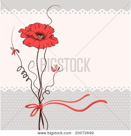 Red Poppy Floral Card Background