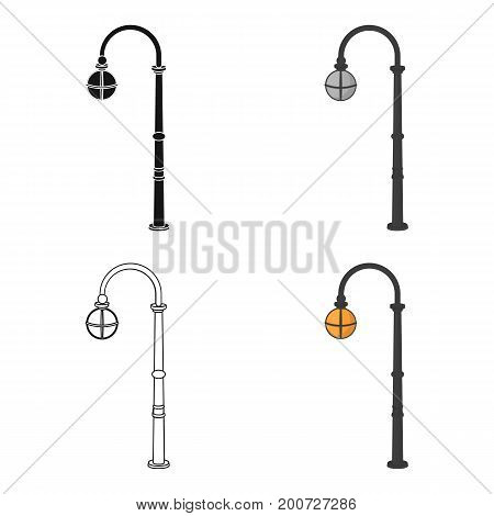 Street lights in retro style. Lamppost single icon in cartoon style vector symbol stock illustration .