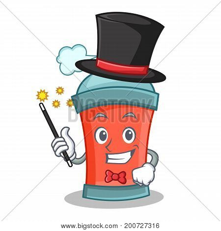 Magician aerosol spray can character cartoon vector illustration