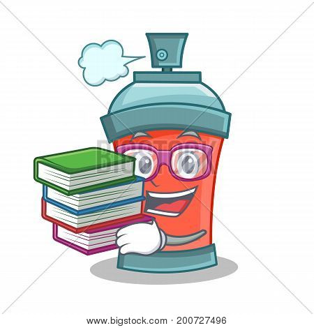 Student with book aerosol spray can character cartoon vector art
