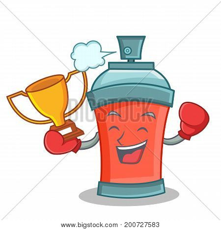 Boxing winner aerosol spray can character cartoon vector art