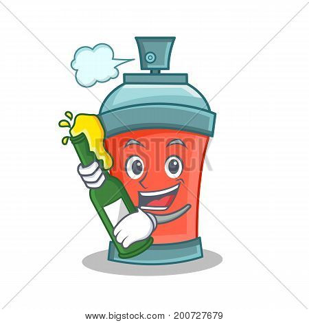 aerosol spray can character cartoon with beer vector illustration