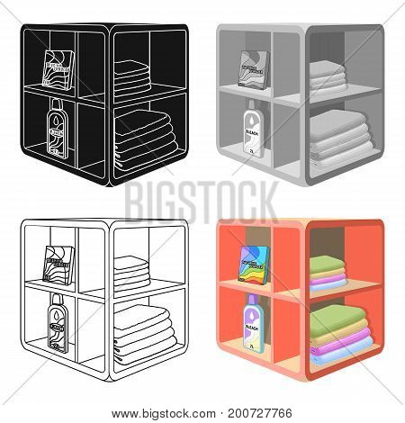 A rack in the bathroom for laundry and detergents. Furniture single icon in cartoon style Isometric vector symbol stock illustration .
