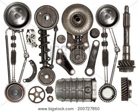 Old auto spare parts car on the white background. Set with many isolated