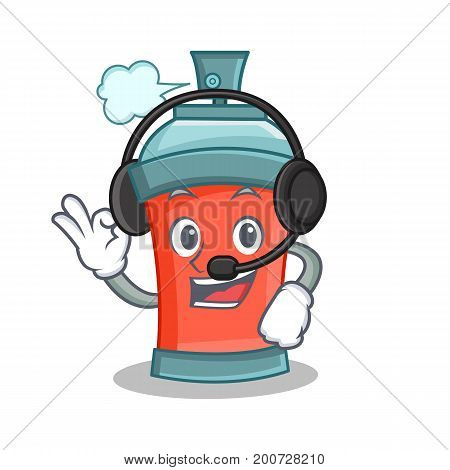aerosol spray can character cartoon with headphone vector art