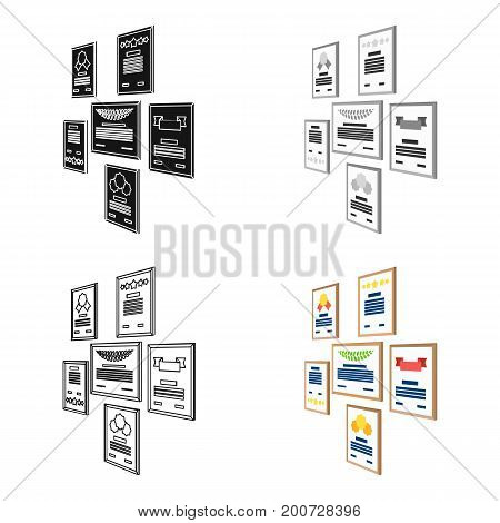 Certificate, diploma and license in a frame on the office wall. Office and interior single icon in cartoon style Isometric vector symbol stock illustration .