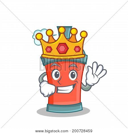 King aerosol spray can character cartoon vector art