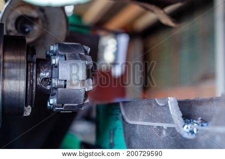 Cutter for metal working. Close-up photo. Horizontally milling machine.