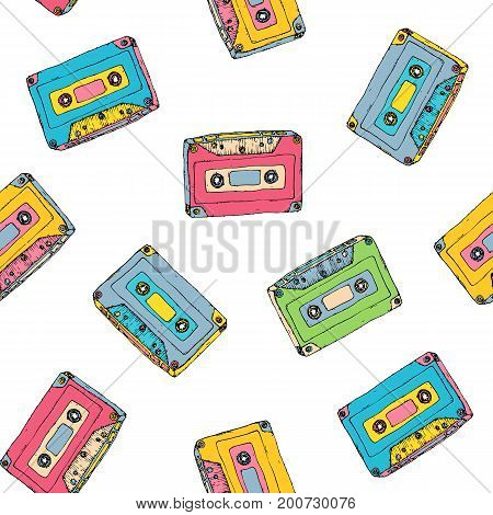 Seamless pattern with plastic cassette, music audio tape. Doodle vector colorful background, retro style