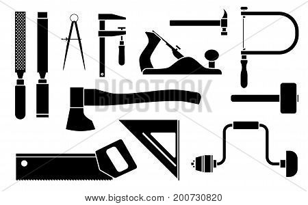Carpentry woodwork tool set. Vector illustration isolated on white background