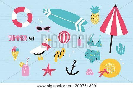 Colorful summer set with hand drawn elements pineapple, ice cream, seagull, surfboard, ball, swimwear, hat, beach umbrella, sunglasses lifebuoy starfish drink flip flops anchor