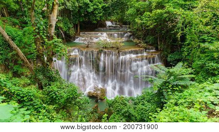 Viewpoint tier 4 at Huay Mae Khamin Waterfalls is located in Khuean Srinagarindra National Park north of Kanchanaburi The seven-tiered waterfalls Thailand
