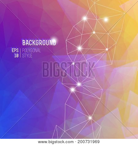 Abstract purple gradient art background with cobweb of lines and white headline vector illustration
