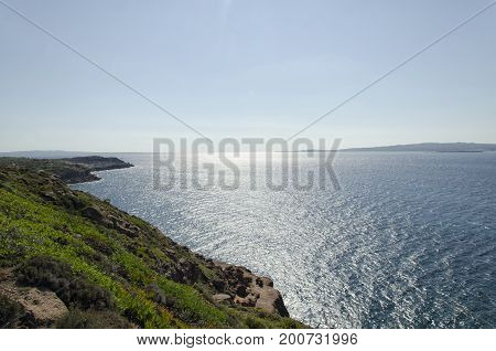 View of the beautiful Sardinian coastline in summertime