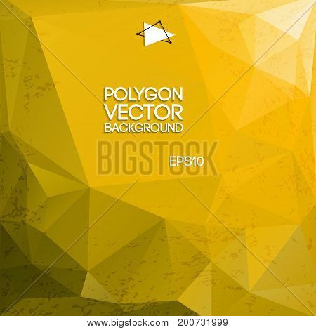 Shaowed abstract triangle polygon background with signs and headline in gradient style vector illustration