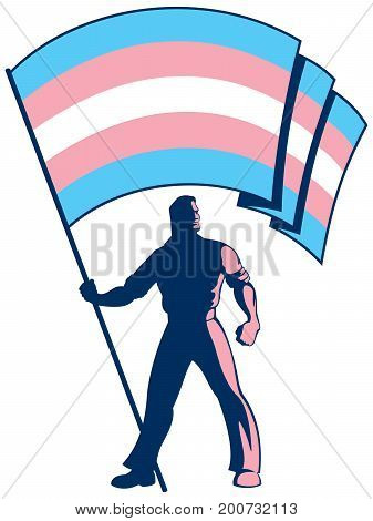 Man holding the transgender pride flag over white background.