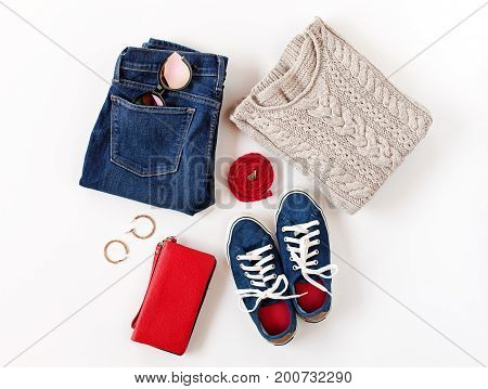 Women's Fashion Clothes And Accessories In Blue And Red Colors Isolated On White Background. Flat La