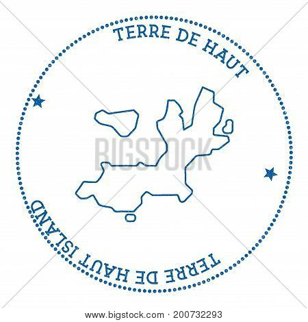 Terre-de-haut Island Map Sticker. Hipster And Retro Style Badge. Minimalistic Insignia With Round Do