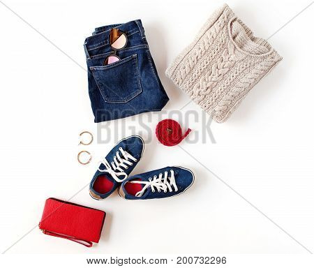 Autumn Outfit. Women's Fashion Clothes And Accessories In Blue And Red Colors Isolated On White Back