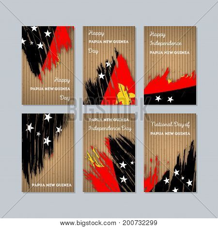 Papua New Guinea Patriotic Cards For National Day. Expressive Brush Stroke In National Flag Colors O