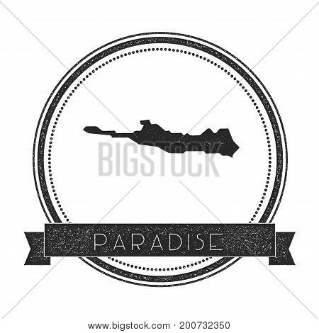Paradise Island Map Stamp. Retro Distressed Insignia. Hipster Round Badge With Text Banner. Island V