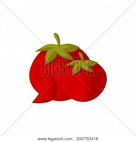 Cartoon style ripe red tomato vegetables, vector illustration isolated on white background. Two cartoon style raw whole red tomato vegetables and slice, farm product