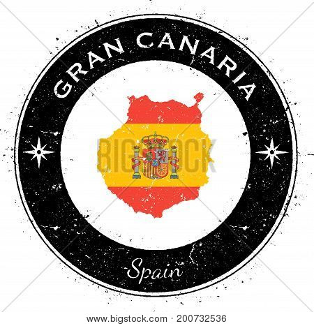 Gran Canaria Circular Patriotic Badge. Grunge Rubber Stamp With Island Flag, Map And Name Written Al
