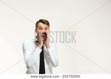 Successful business mane crying on white background. Listening, Shouting concept.