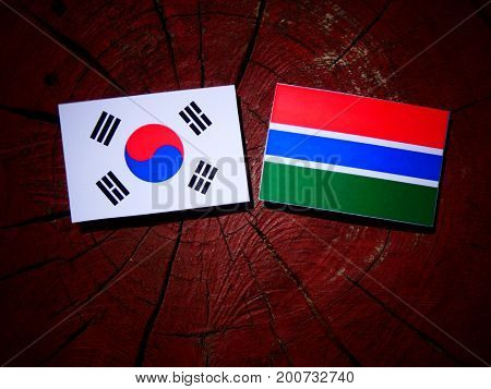Gambian Flag With South Korean Flag On A Tree Stump Isolated