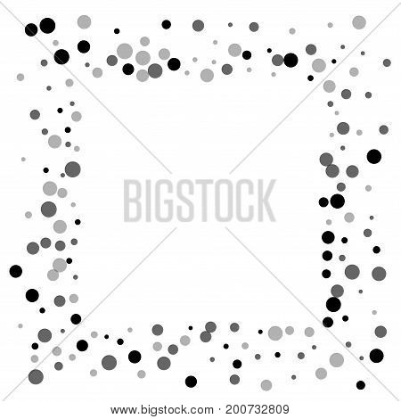 Random Black Dots. Square Messy Frame With Random Black Dots On White Background. Vector Illustratio
