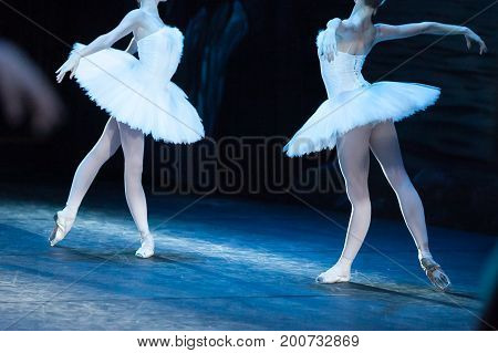 choreography, art, ballet concept. impeccable bodies of two female ballet dancers are shinning in bright light of projectors, they are raising their hands like beautiful and majestic swans