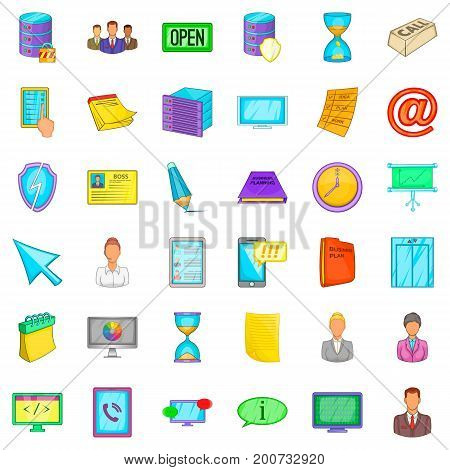 Department icons set. Cartoon style of 36 department vector icons for web isolated on white background
