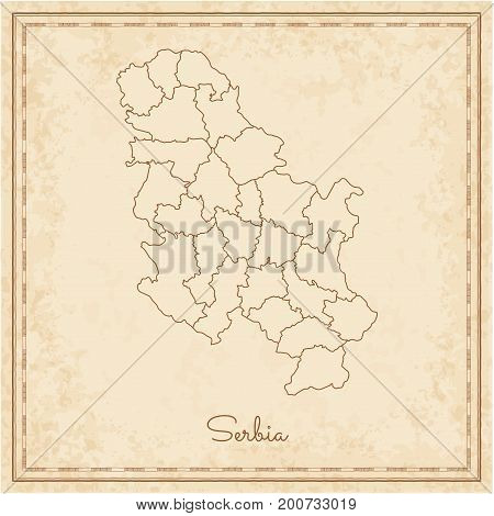 Serbia Region Map: Stilyzed Old Pirate Parchment Imitation. Detailed Map Of Serbia Regions. Vector I