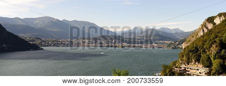 View of Lugano and lake from Campione d'Italia