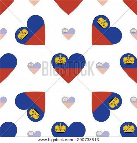 Liechtenstein Flag Heart Seamless Pattern. Patriotic Liechtenstein Flag Background. Country Flag In