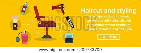 Haircut and styling banner horizontal concept. Flat illustration of haircut and styling banner horizontal vector concept for web