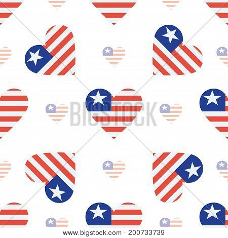 Liberia Flag Heart Seamless Pattern. Patriotic Liberia Flag Background. Country Flag In The Shape Of