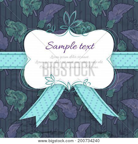 Vintage celebrate card with frame text dotted ribbon bow on flowery striped seamless pattern vector illustration