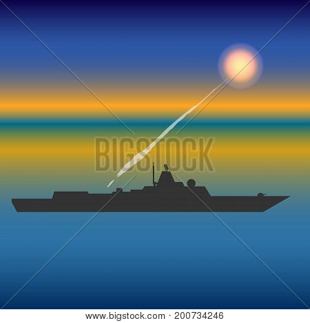 Military ship in sea with cruise missiles vector illustration
